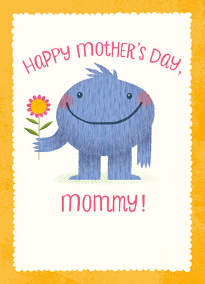 Mother's Day Snuggle-monster 5x7 Folded Card