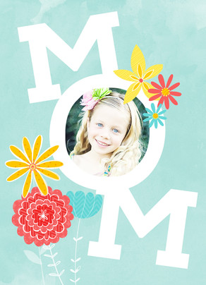 MOM with Flowers and Photo 5x7 Folded Card