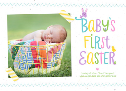 Baby's First Easter with Cute Critters 7x5 Flat Card