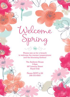Editable Invitation with Floral 5x7 Flat Card
