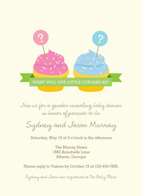 Cupcakes Baby Shower Invitation 5x7 Flat Card