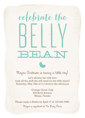 Belly Bean Baby Shower - Blue 5x7 Flat Card