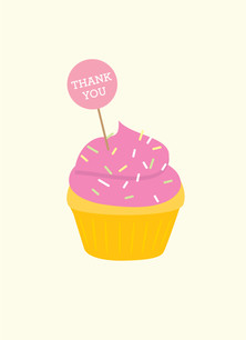 Cupcake Thank You - Pink 3.75x5.25 Folded Card