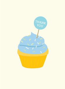 Cupcake Thank You - Blue 3.75x5.25 Folded Card