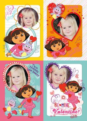 Dora & Boots School Valentines 5x7 Flat Card