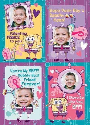 Spongebob School Valentines 5x7 Flat Card