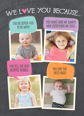 We Love Mom  Because... 5x7 Folded Card