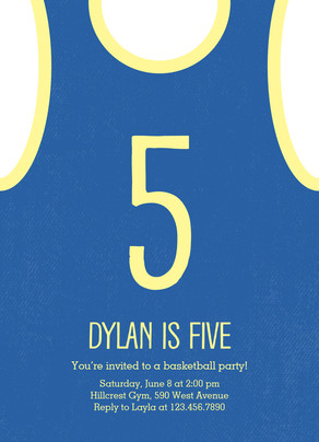 Basketball Jersey Birthday Invitation 5x7 Flat Card