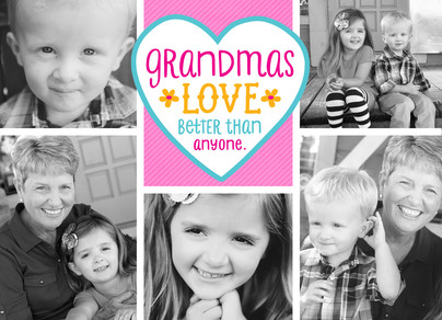 Grandma Love with Heart and Photos 7x5 Folded Card