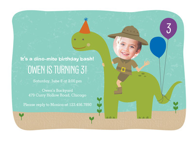 Dinosaur Birthday Invitation 7x5 Flat Card