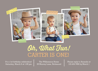 Oh What Fun! - 1st B-day Yellow and Orange 7x5 Flat Card