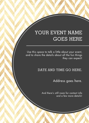 General Invitation on Gold Herringbone 5x7 Flat Card
