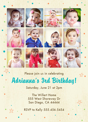 12-photo Invitation with Confetti and Stars 5x7 Flat Card