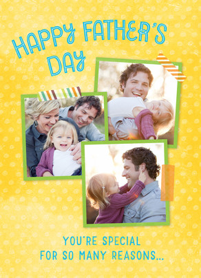Father's Day Photos on Yellow Pattern 5x7 Folded Card