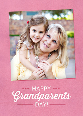 Happy Grandparents Day on Pink 5x7 Folded Card