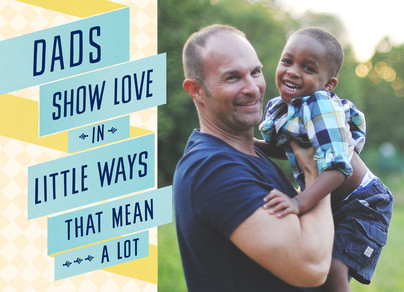 Dad Love with Graphic Ribbons 7x5 Folded Card