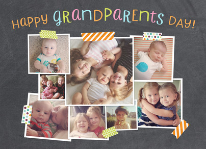 Grandparents Day Photo Collage on Chalkboard 7x5 Folded Card