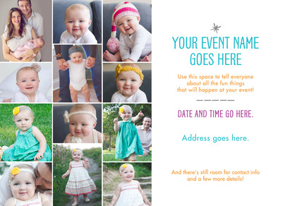 12-photo Invitation on White 7x5 Flat Card