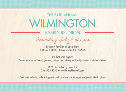 Family Reunion Invite - Teal and Cream 7x5 Flat Card