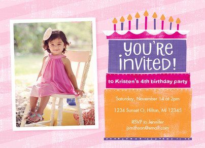 Colorful Cake Layers Invite on Pink Stripes 7x5 Flat Card