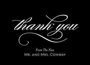 Thank You - Script on Black 5.25x3.75 Folded Card