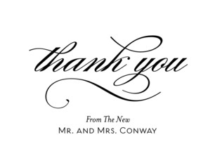 Thank You - Script on White 5.25x3.75 Folded Card