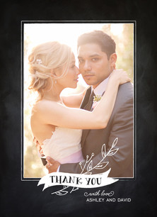 Thank You - Banner on Chalkboard 3.75x5.25 Folded Card