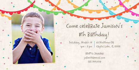 Colorful Bunting Birthday Invitation 8x4 Flat Card