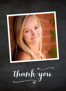 Chalkboard with Photos Grad Thank You 3.75x5.25 Folded Card