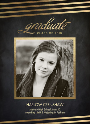 Chalkboard with Gold Grad Announcement 5x7 Flat Card