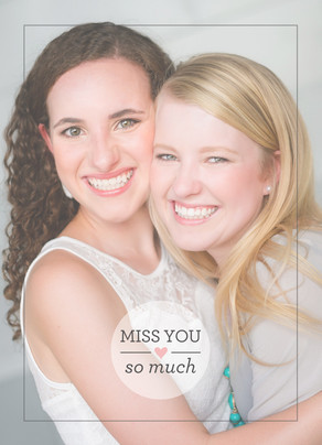 Miss You Photo with Overlay 5x7 Folded Card