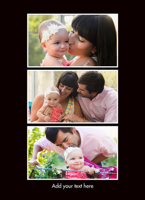 Color Frame - 3 Photos Vertical 5x7 Folded Card