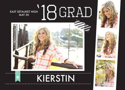 Black & White Photo Strip Grad Announcement 7x5 Flat Card