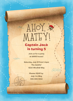 Pirate Party Invitation 5x7 Flat Card
