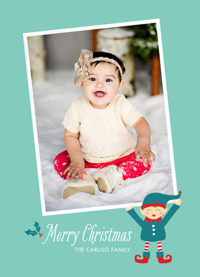 Christmas Elf with Photo 5x7 Flat Card