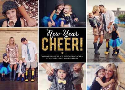 Glittery New Year Cheer 7x5 Flat Card