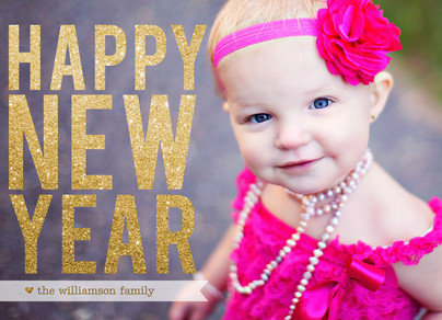 Glittery New Year Overlay 7x5 Flat Card
