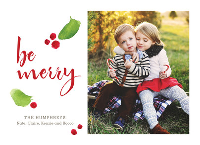 Merry Holly Berries 7x5 Flat Card