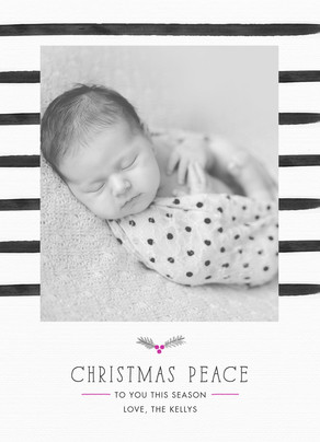 Christmas Peace with Stripes 5x7 Flat Card