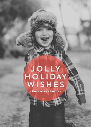 Jolly Holiday Wishes 5x7 Flat Card