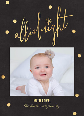 All is Bright - Script on Black 5x7 Flat Card