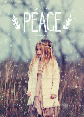 Peace Overlay with Laurels 5x7 Flat Card