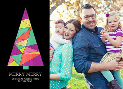 Geometric Christmas Tree 7x5 Flat Card