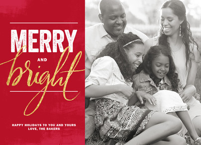 Merry and Bright on Red 7x5 Flat Card