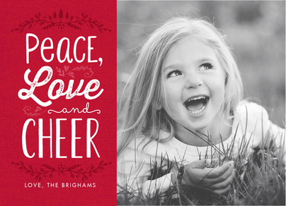 Peace, Love, Cheer on Red 7x5 Flat Card