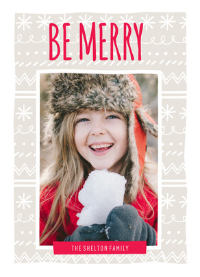 Be Merry on Winter Pattern 5x7 Flat Card