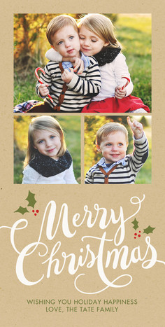 Merry Christmas with Holly 4x8 Flat Card