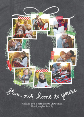Photo Collage Wreath Christmas Card 5x7 Flat Card