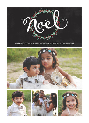 Noël with Wreath 5x7 Flat Card