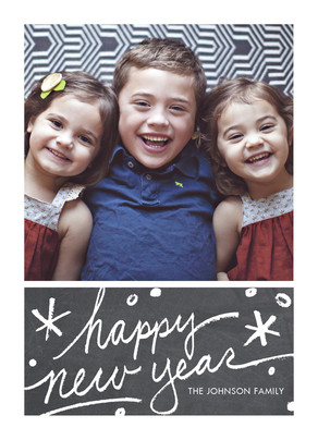 Happy New Year on Chalkboard 5x7 Flat Card